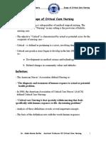 1- Scope of Critical Care Nursing