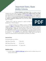 NEET 2016 Important Dates, Exam Pattern, Eligibility Criteria - Entranceindia