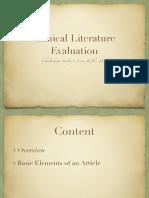 Clinical Literature Evaluation