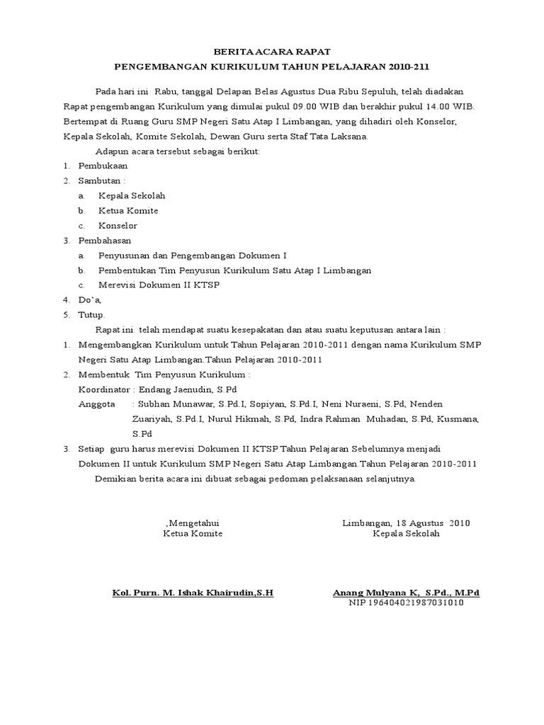 Contoh Berita Acara Rapat Pengembangan Kurikulum Doc