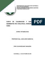 Curva de Calibracion de Sedimentos Rio Choluteca Estacion La Ceiba