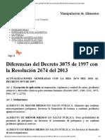 Diferencias Del Decreto 3075 de 1997 Con La Resolución 2674 Del 2013 _ Manipulación de Alimentos