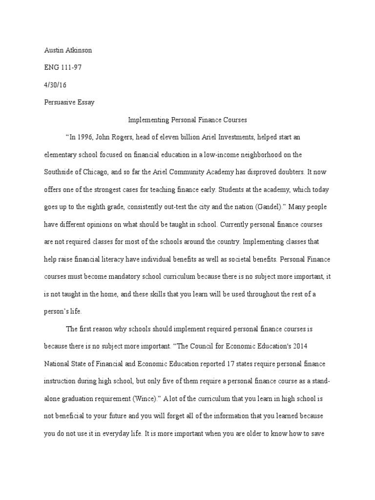 High School Personal Finance Essay  Mistyhamel Persuasive Essay Rough Draft Personal Finance Teachers
