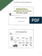 Antecendes y Presentacion de La Norma ISO 9001 2008
