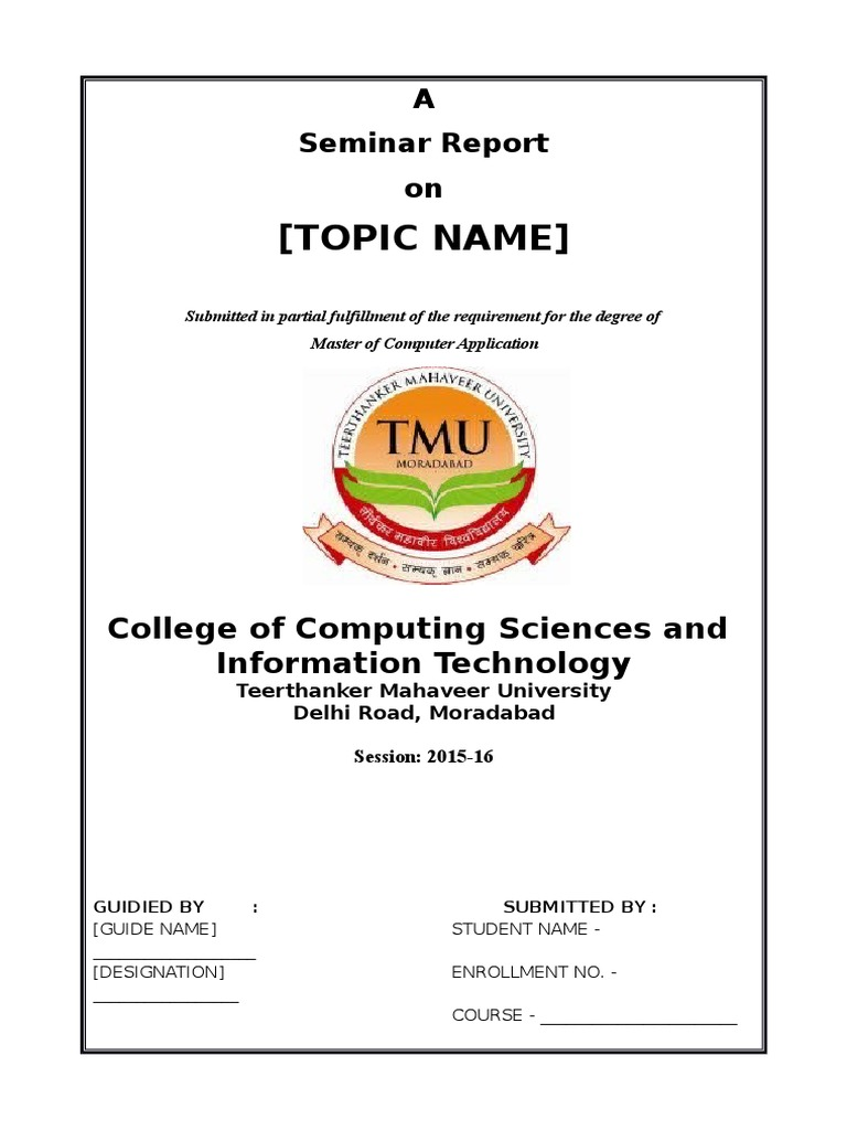seminar report sample front page