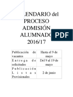 Calendario Admisión CURSO 2016-17