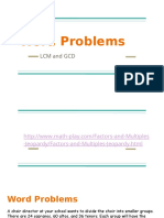 Word Problems LCM and GCD