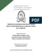 Diseño de Un Sistema de Gestion de Calidad Para Los Restaurantes de La Zona Del Puerto de La Libertad