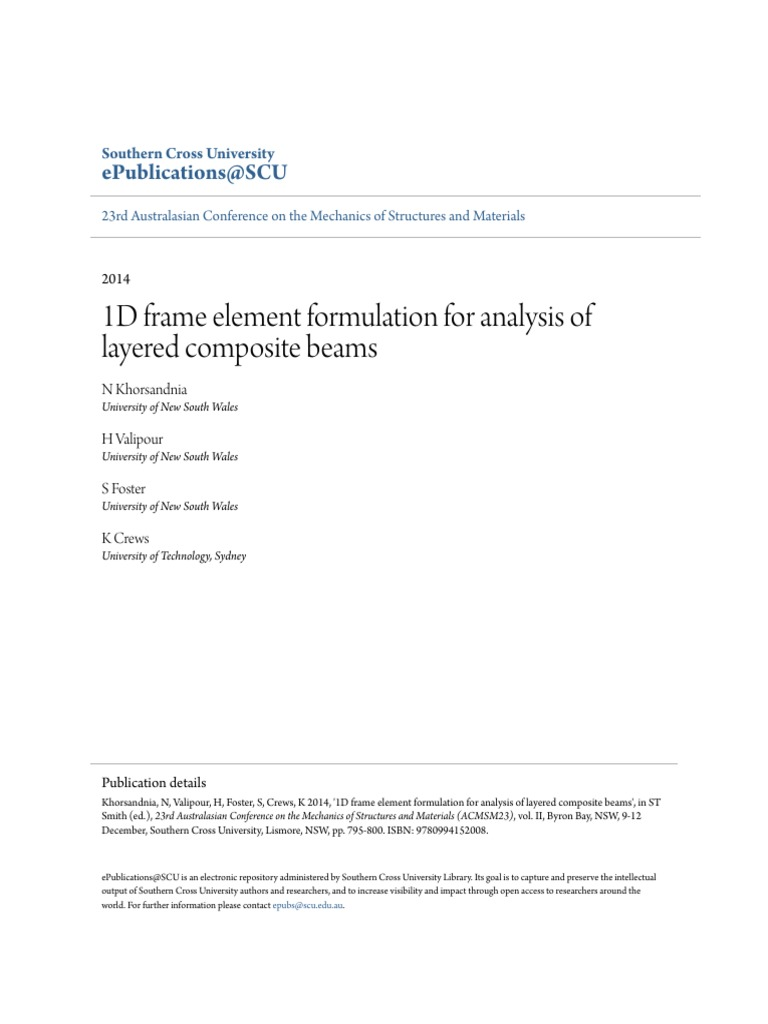 1D Frame Element Formulation for Analysis of Layered