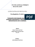 Evaluación del lenguaje expresivo (lenguaje espontáneo) y denominación (denominación de la realidad).