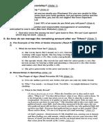 Financial Stewardship Outline