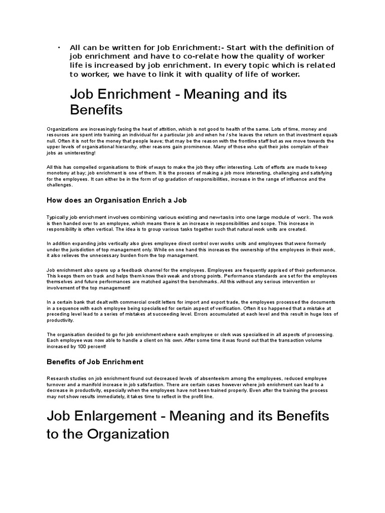 benefits of job enrichment