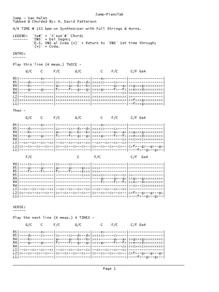 Van Halen Jump Piano Tab