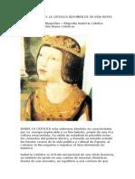 Biografia Isabel La Catolica Resumen de Su Vida Reyes Catolicos