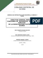 Directiva Para La Designacion de Residente de Obras Para La Ejecucion Presupuestaria Directa