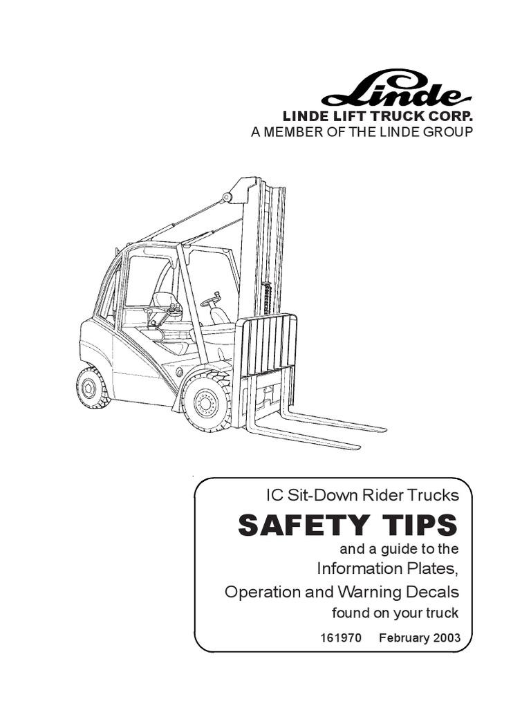 Linde Operator Manual (3538043001) 353-02D H50 through H80