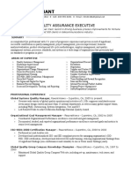Sample Quality Assurance Resume