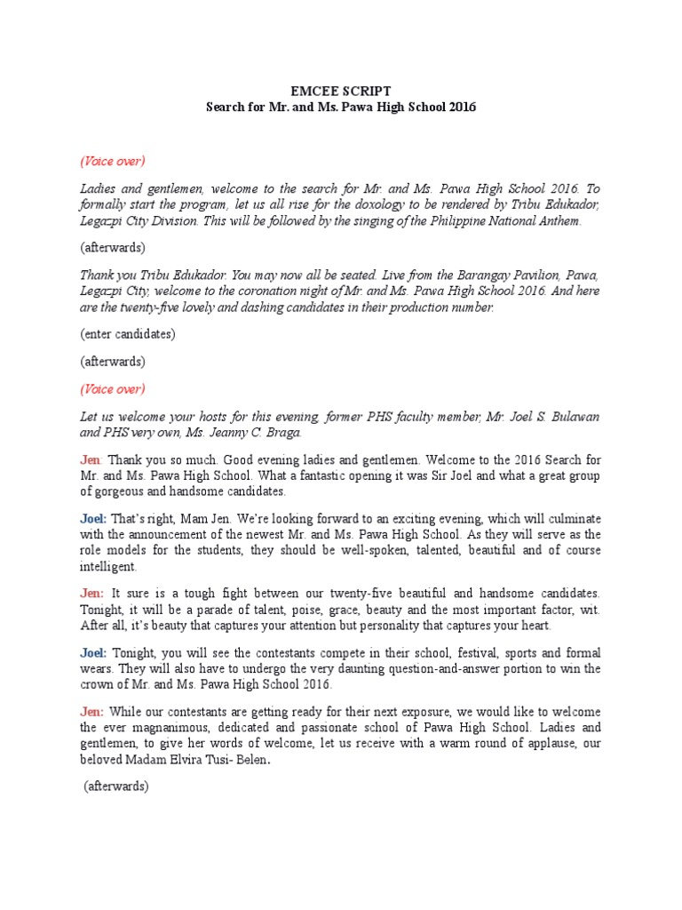 Emcee Script for Pageant | Beauty | Leisure