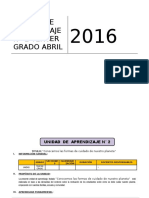 UNIDAD DE APRENDIZAJE N° 02 ABRIL 3° GRADO ED PRIMARIA 2016