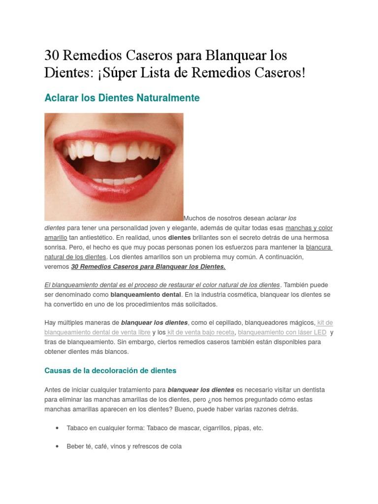 Receta casera para blanquear dientes