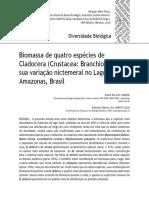 Ghidini & Santos Silva 2009 Biomassa Quatro Especies Cladoceras Lago Tupe