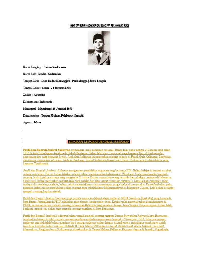 Biodata Lengkap Jendral Sudirman