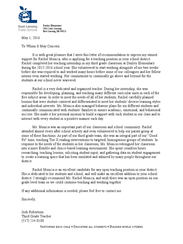 Letter Of Recommendation Student Teacher from imgv2-1-f.scribdassets.com