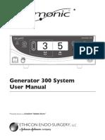 Ethicon Harmonic 300 Ultrasonic Surgery Generator - User Manual