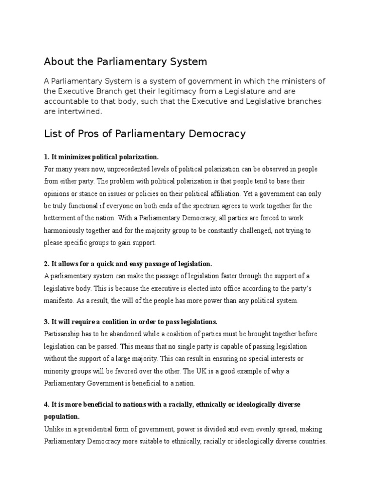 About The Parliamentary System Parliamentary System Political