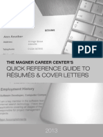 QUICK REFERENCE GUIDE TO RÉSUMÉS AND COVER LETTERS