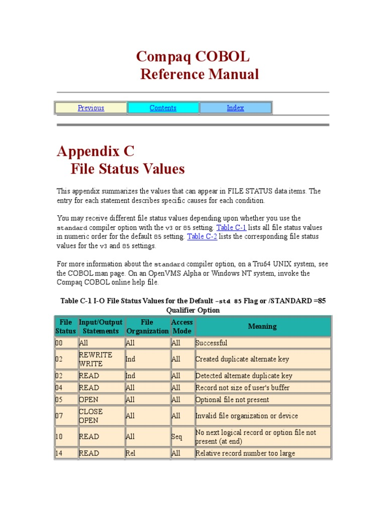 COBOL File Status | Sequence | Summation