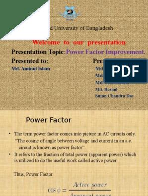 Presentation on Power Factor Improvement pptx | Capacitor