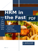 HR practices in the Fast Food industry
