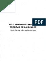 Reglamento Interno de Trabajo de La SUNARP - Sede Central y Zonas Registrales