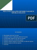 Rezultatele Realizării Reformei Agrare În Republica Moldova
