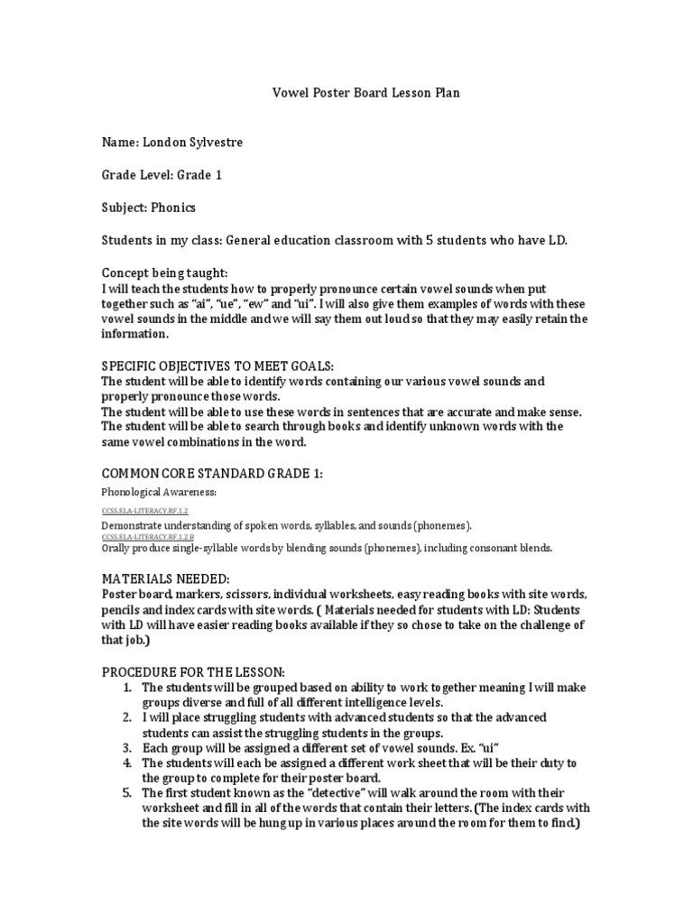 edu 112 ld lesson plan | Vowel | Phonics