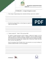 Ficha de Trabalho 1 a Língua Portuguesa