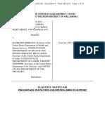 Motion for Preliminary Injunction, Hobby Lobby v. Sebelius at , 5:12-cv-01000 (W.D.OK. Sept. 12, 2012).