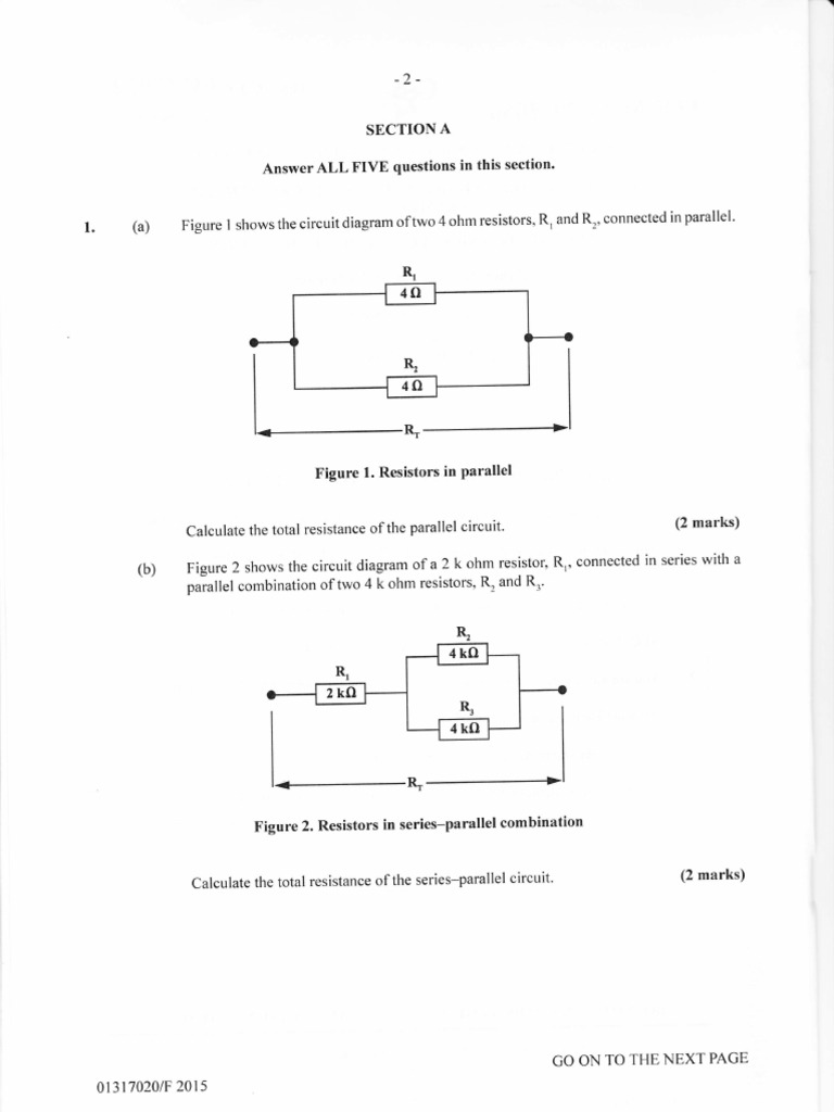 2015 Cxc Elec Paper 2 Series And Parallel Circuits Electrical Resistors In Resistance Conductance