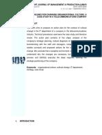 Artigo - 2013 - Guidelines for Changing Organizational Culture a Case Study in a Telecomunications Company