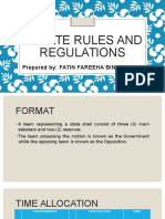 Debate Rules and Regulations
