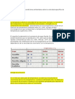 Influencia de Algunas Condiciones Ambientales Sobre La Velocidad Específica de Crecimiento