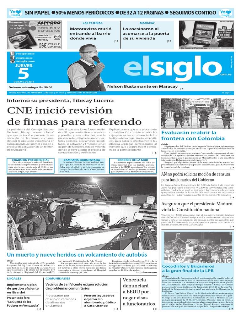 Edición Impresa El Siglo 05-05-2016 | Nicolás Maduro | Alcalde