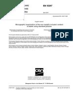 En 10247-2007 Micrographic Examination of the Non-metallic Inclusion Content