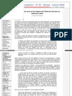[a] Origem Das Ciências Sociais Na América Latina