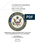 Administration Conducted Inadequate Review of Key Issues Prior to Expanding Health Law's Taxes and Subsidies Government Reform