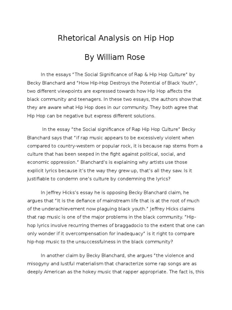 rhetorical analysis on hip ho hip hop hip hop music