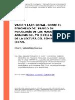 Otero, Sebastian Matias. Vacio y Lazo Social. El Fenomeno Del Panico