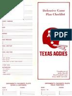 Defensive Game Plan Checklist - Jackie Sherrill - Texas A&M