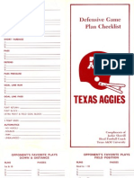 Defensive Game Plan Checklist - Jackie Sherrill - Texas A&M